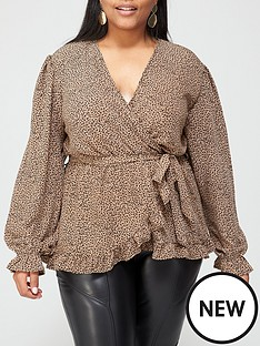 ax-paris-curve-animal-printed-wrap-top-camel