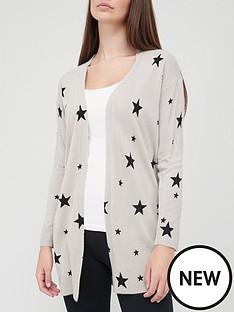 v-by-very-super-soft-star-print-longline-knitted-cardigan-greyblack