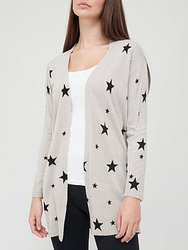 v-by-very-super-soft-star-print-longline-knitted-cardigan-greyblack