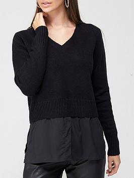 v-by-very-value-v-neck-2-in-1-shirt-detail-knitted-jumpernbsp--washed-black