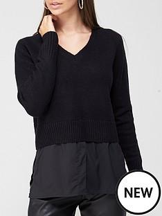 v-by-very-value-v-neck-shirt-detail-knitted-jumpernbspnbsp--washed-black