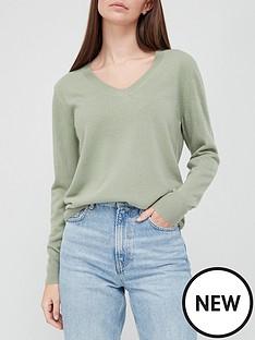 v-by-very-super-soft-v-neck-deep-rib-hem-knitted-jumper-washed-khaki