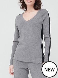 v-by-very-valuenbspv-neck-side-panel-co-ord-knittednbsptop-greyblack