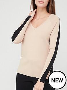 v-by-very-valuenbspv-neck-side-panel-co-ord-knittednbsptop-camelblack