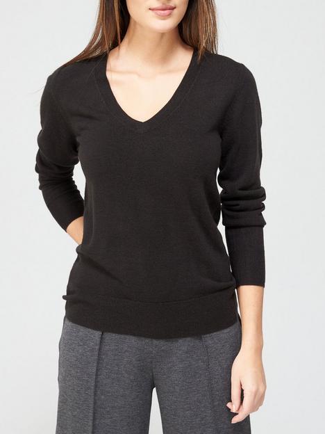 v-by-very-value-super-softnbspv-neck-deep-rib-hem-knittednbspjumper-black