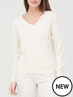 v-by-very-value-super-softnbspv-neck-deep-rib-hem-knittednbspjumper-cream