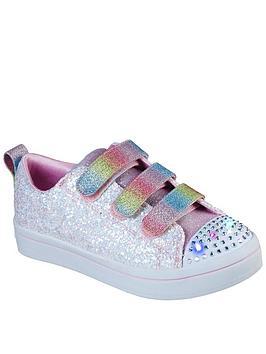 skechers-girlsnbsptwi-lites-glitter-glitz-trainer-white