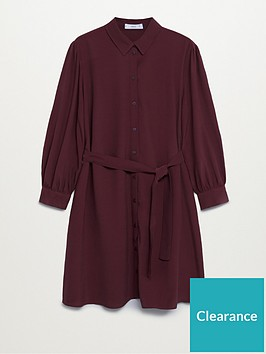 mango-tie-waist-mini-dress-dark-red