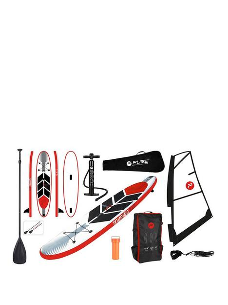 pure-windsurf-sup-inflatable-stand-up-paddle-board-105-feet-complete-set-with-pump-patch-tool-foot-lead-adjustable-paddle-and-waterproof-2l-bag