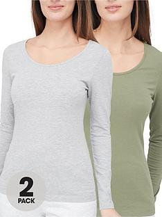 v-by-very-valuenbsp2-pack-long-sleevenbspstretch-scoop-neck-top-khakigrey