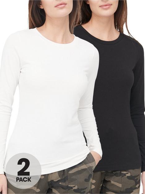 v-by-very-valuenbsp2-pack-long-sleevenbspstretch-crew-neck-top-blackwhite