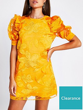 river-island-organza-print-mini-shift-dress-orange