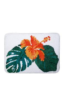 aqualona-tropical-leaf-microfibre-bath-mat