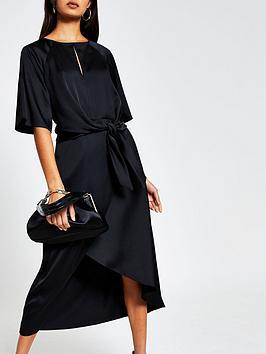river-island-tie-side-asymmetric-midi-dress-black