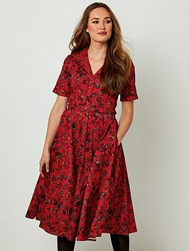 joe-browns-pretty-printed-shirt-dress-red