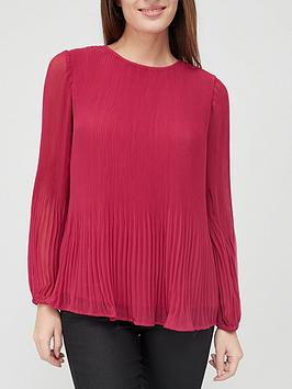 v-by-very-pleated-blouson-sleeve-blouse-pink