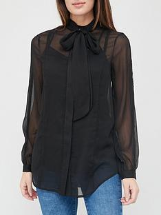 v-by-very-pussybow-trim-blouse-black