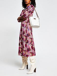 river-island-mixed-animal-print-tie-neck-button-through-dress-pink
