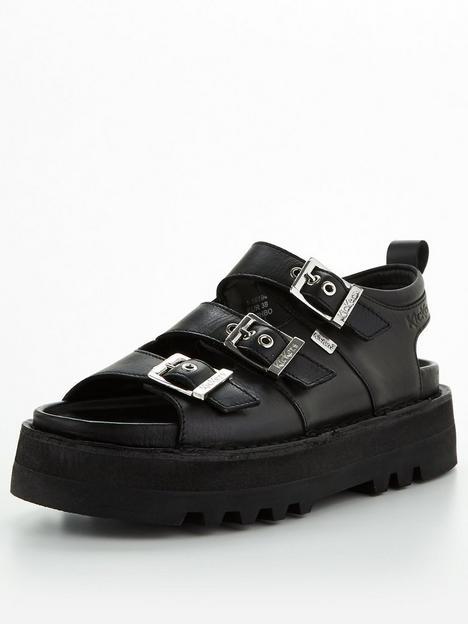kickers-knox-lo-buckle-flat-leather-sandal-black