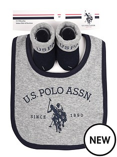 us-polo-assn-baby-boy-bib-and-booties-set-grey-marlnavy