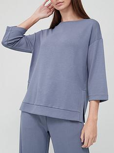 v-by-very-premium-co-ord-flared-sleeve-sweat-top-petrol-blue
