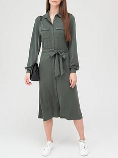 v-by-very-premium-long-sleeve-tie-waist-modal-shirt-midi-dress-khaki