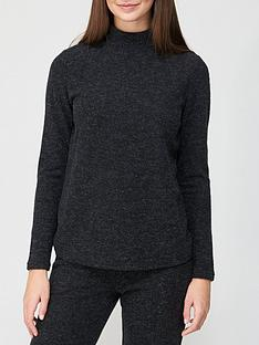 v-by-very-long-sleeve-high-neck-snit-co-ord-top-charcoal