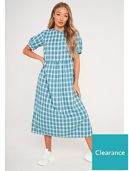 missguided-missguided-puff-sleeve-smock-midi-dress-green
