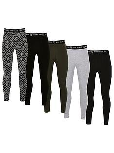 river-island-girls-5-pack-mixed-waistband-leggings-black