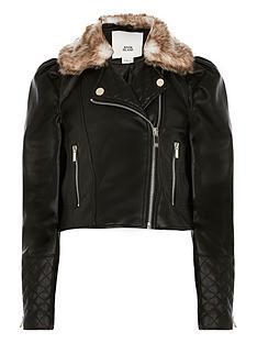 river-island-girls-puff-sleeve-biker-jacket-with-detachable-faux-fur-collarnbsp--black