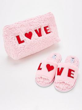 v-by-very-love-slogan-slipper-set-pink