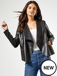 dorothy-perkins-black-pu-waterfall-jacket