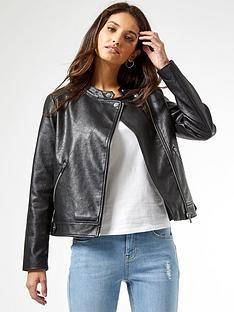 dorothy-perkins-pu-collarless-jacket-black