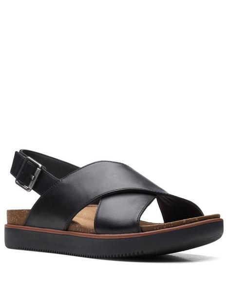 clarks-elayne-cross-leather-flat-sandal-black