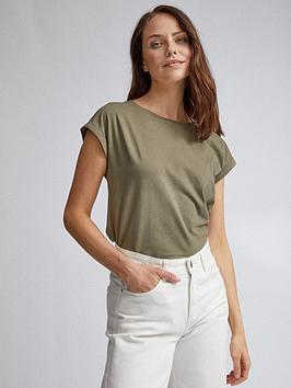 dorothy-perkins-roll-sleeve-organic-tee-khaki