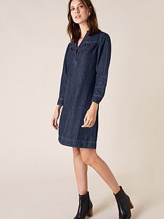 monsoon-denim-knee-length-dress-blue