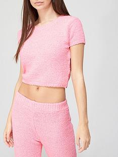 missguided-missguided-popcorn-t-shirt-co-ord-pink