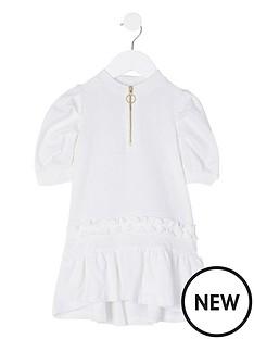 river-island-mini-mini-girls-half-zip-frill-hem-dress-white