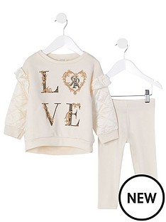 river-island-mini-girls-2-piece-quilted-sleeve-sweatshirt-and-leggings-set--nbspcream