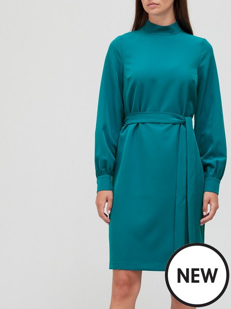 v-by-very-high-neck-belted-mini-dress-teal