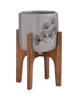 ginkgo-leaf-print-planter-on-wooden-legs