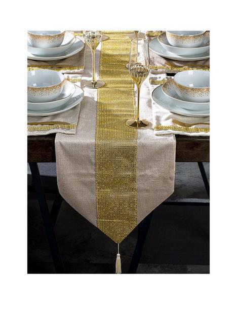 waterside-7-piece-velvet-diamante-gold-runner-andnbspplacematnbspset