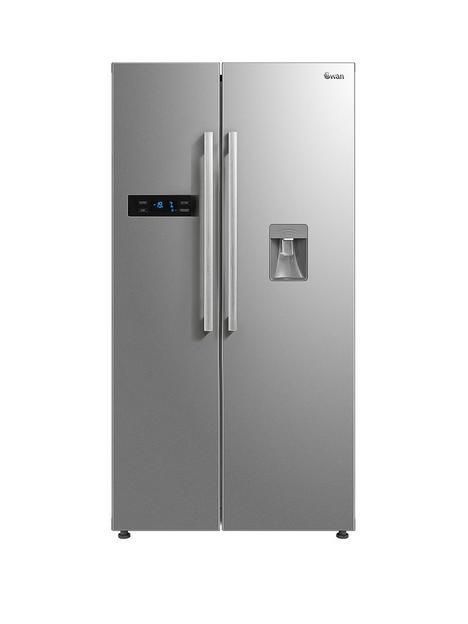 swan-swan-sr70111s-90cm-american-style-double-door-frost-free-fridge-freezer-with-water-dispenser-silver