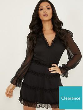quiz-long-sleeve-skater-dress-black