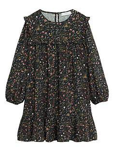 mango-girls-frill-neck-floral-long-sleeve-dress-black