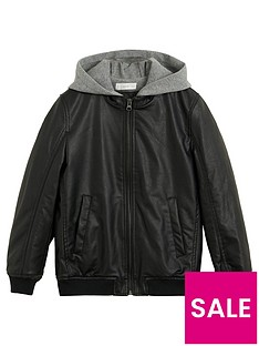 prod1089924213: Boys Hooded Faux Leather Jacket - Black