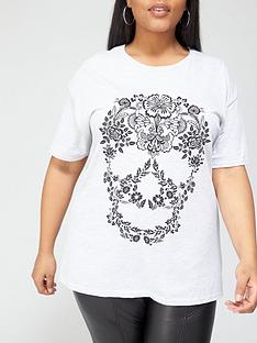 v-by-very-curve-skull-t-shirt-grey-marl