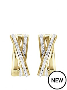 evoke-gold-plated-sterling-silver-clear-swarovski-crystals-crossover-half-hoop-earrings
