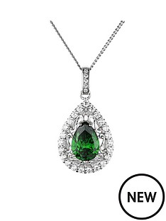 the-love-silver-collection-rhodium-plated-sterling-silver-white-and-emerald-cubic-zirconia-teardrop-pendant-necklace