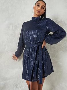 missguided-missguided-high-neck-balloon-sleeve-dress-navy